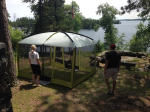 Or, rather, my mom and John put up a tent for me to use. Thank you, thank you.